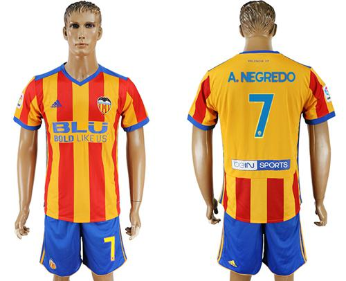 Valencia #7 A.Negredo Away Soccer Club Jersey