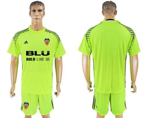 Valencia Blank Shiny Green Goalkeeper Soccer Club Jersey