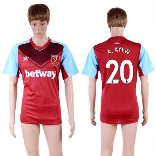 West Ham United #20 A.Ayew Home Soccer Club Jersey