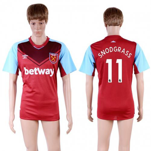 West Ham United #11 Snodgrass Home Soccer Club Jersey