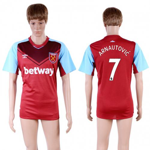 West Ham United #7 Arnautovic Home Soccer Club Jersey