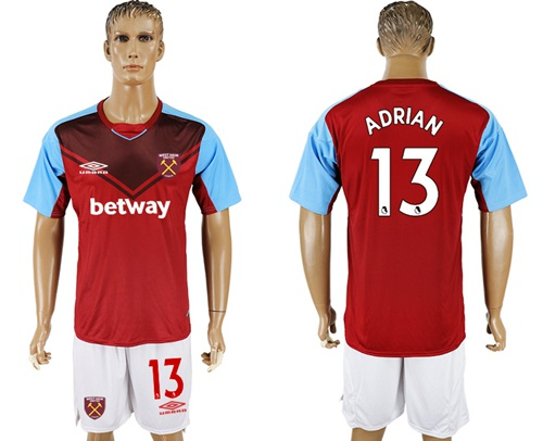 West Ham United #13 Adrian Home Soccer Club Jersey