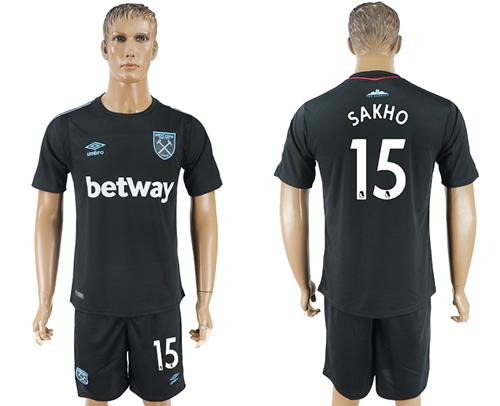 West Ham United #15 Sakho Away Soccer Club Jersey