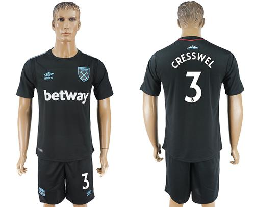 West Ham United #3 Cresswell Away Soccer Club Jersey