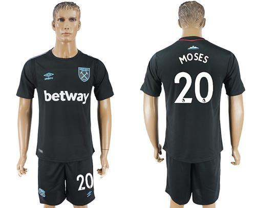 West Ham United #20 Moses Away Soccer Club Jersey