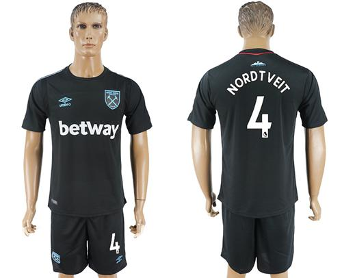 West Ham United #4 Nordtveit Away Soccer Club Jersey
