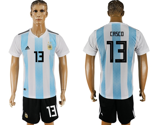 Argentina #13 Casco Home Soccer Country Jersey