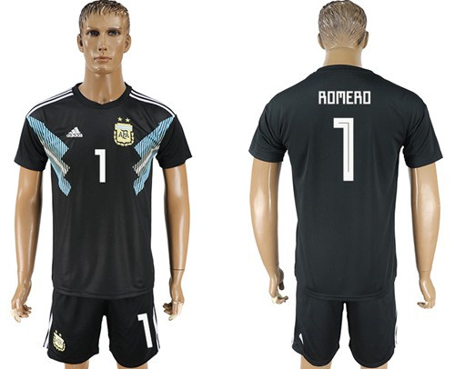 Argentina #1 Romero Away Soccer Country Jersey