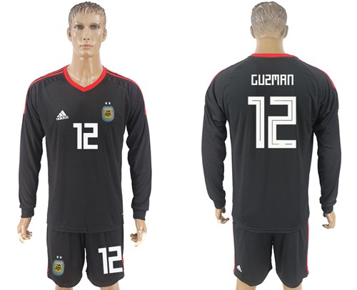 Argentina #12 Guzman Black Long Sleeves Goalkeeper Soccer Country Jersey