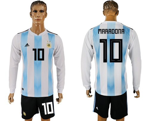 Argentina #10 Maradona Home Long Sleeves Soccer Country Jersey