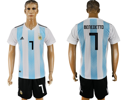 Argentina #7 Benedetto Home Soccer Country Jersey