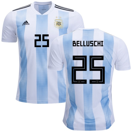Argentina #25 Belluschi Home Soccer Country Jersey