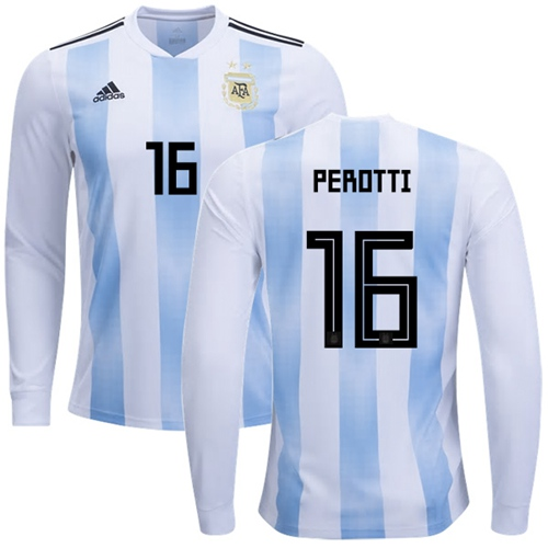 Argentina #16 Perotti Home Long Sleeves Soccer Country Jersey