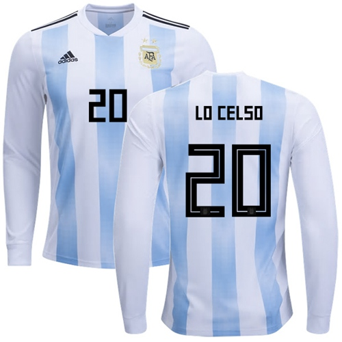 Argentina #20 Lo Celso Home Long Sleeves Soccer Country Jersey