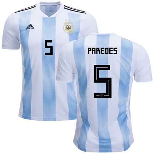 Argentina #5 Paredes Home Soccer Country Jersey