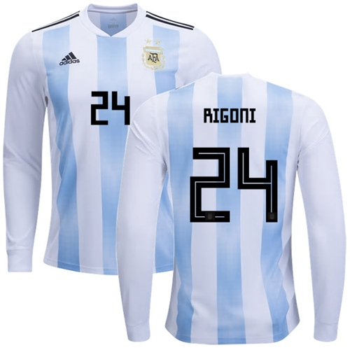 Argentina #24 Rigoni Home Long Sleeves Soccer Country Jersey