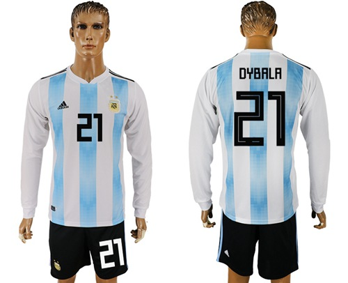 Argentina #21 Dybala Home Long Sleeves Soccer Country Jersey