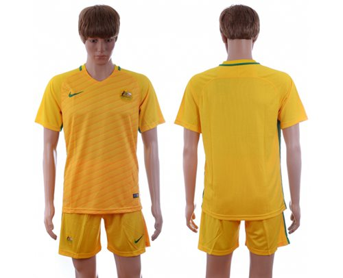 Australia Blank Home Soccer Country Jersey