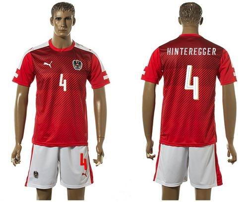 Austria #4 Hinteregger Red Home Soccer Country Jersey