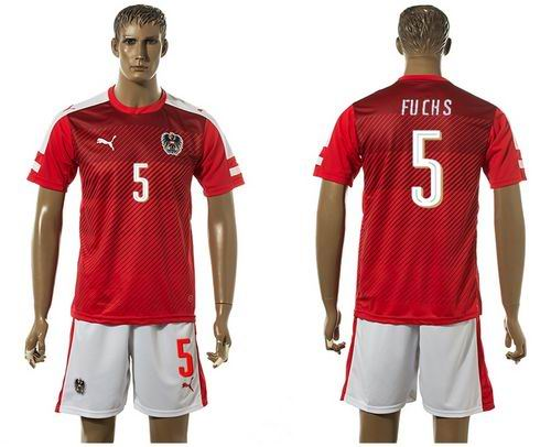 Austria #5 Fuchs Red Home Soccer Country Jersey