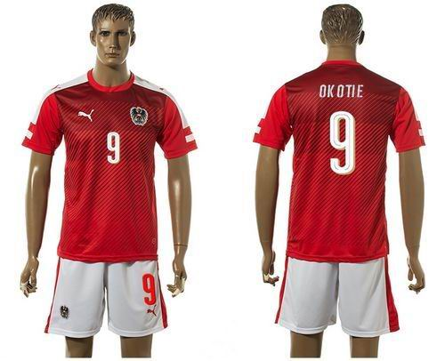 Austria #9 Okotie Red Home Soccer Country Jersey