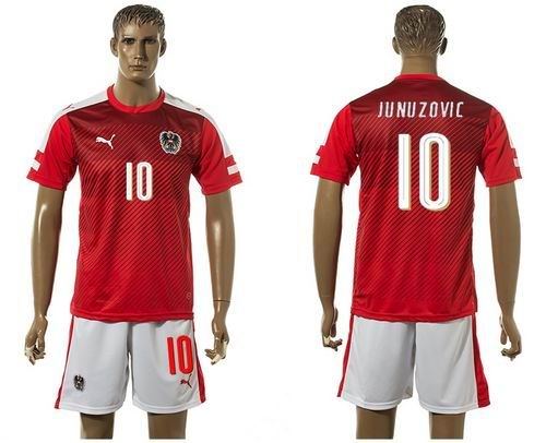 Austria #10 Junuzovic Red Home Soccer Country Jersey