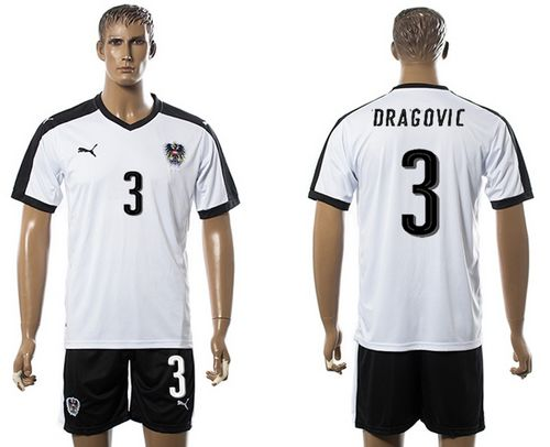 Austria #3 Dragovic White Away Soccer Country Jersey
