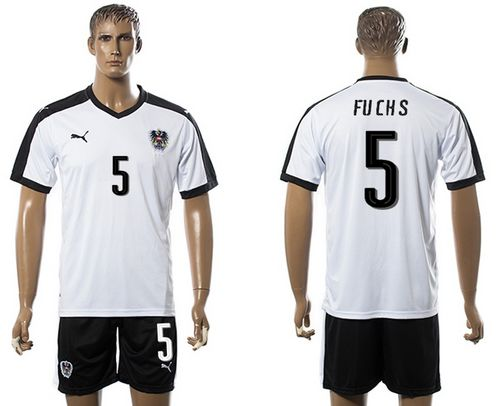 Austria #5 Fuchs White Away Soccer Country Jersey