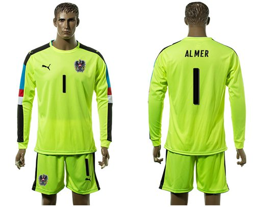Austria #1 Almer Shiny Green Goalkeeper Long Sleeves Soccer Country Jersey