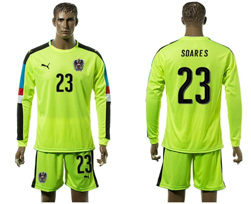 Austria #23 Soares Shiny Green Goalkeeper Long Sleeves Soccer Country Jersey