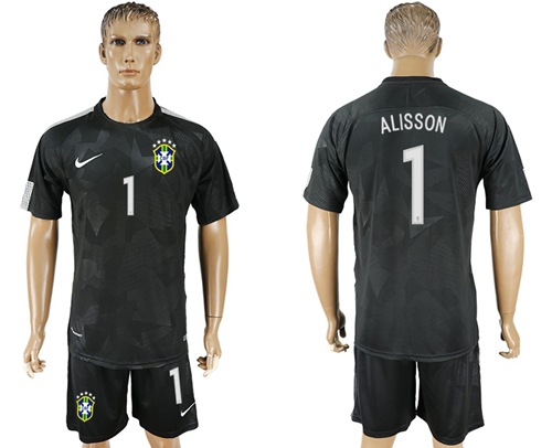 Brazil #1 Alisson Black Soccer Country Jersey