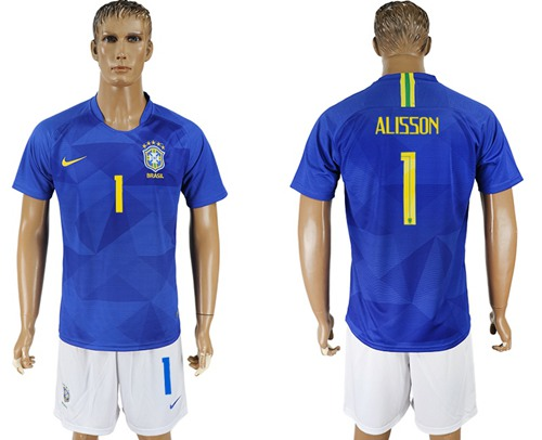 Brazil #1 Alisson Away Soccer Country Jersey