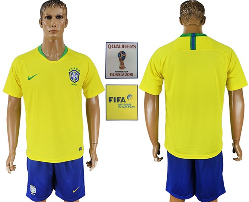 Brazil Blank Home Soccer Country Jersey