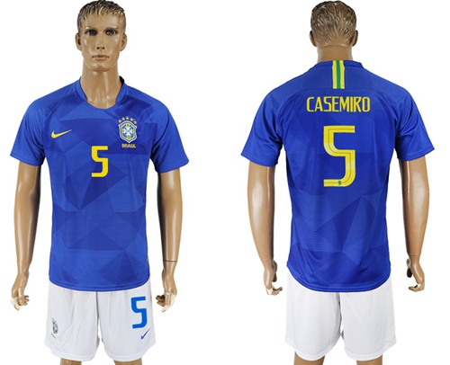 Brazil #5 Casemiro Away Soccer Country Jersey