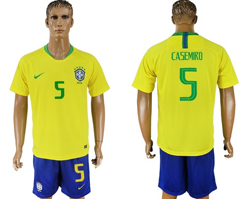 Brazil #5 Casemiro Home Soccer Country Jersey