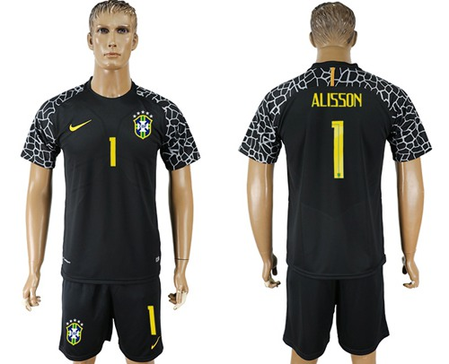 Brazil #1 Alisson Black Goalkeeper Soccer Country Jersey