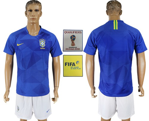 Brazil Blank Away Soccer Country Jersey