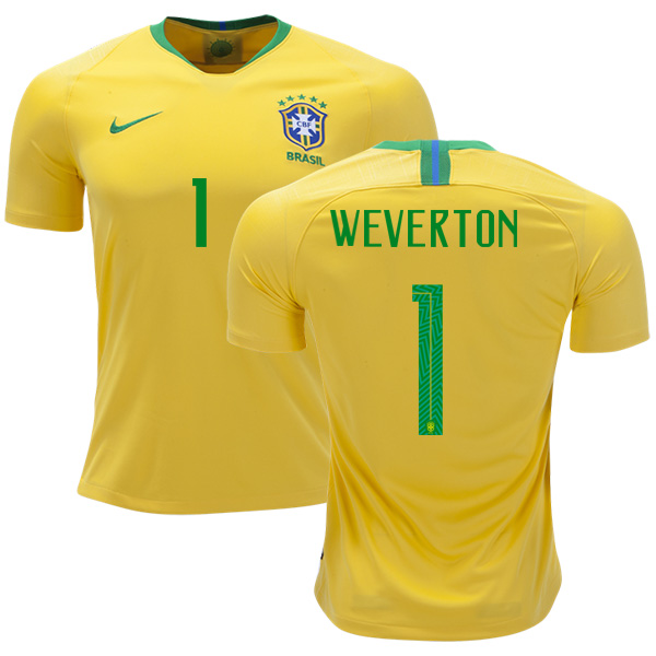 Brazil #1 Weverton Home Soccer Country Jersey