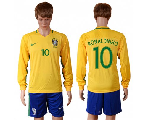 Brazil #10 Ronaldinho Home Long Sleeves Soccer Country Jersey