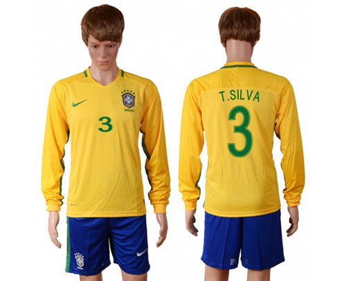 Brazil #3 T.Silva Home Long Sleeves Soccer Country Jersey
