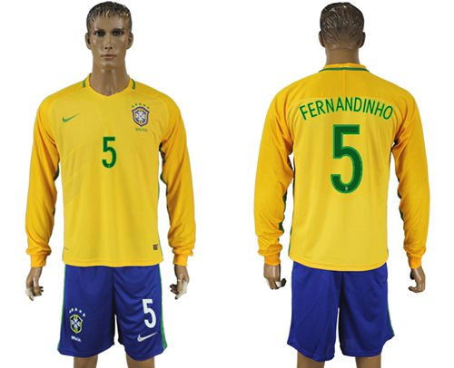 Brazil #5 Fernandinho Home Long Sleeves Soccer Country Jersey