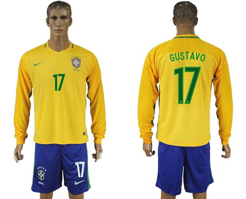 Brazil #17 Gustavo Alves Home Long Sleeves Soccer Country Jersey