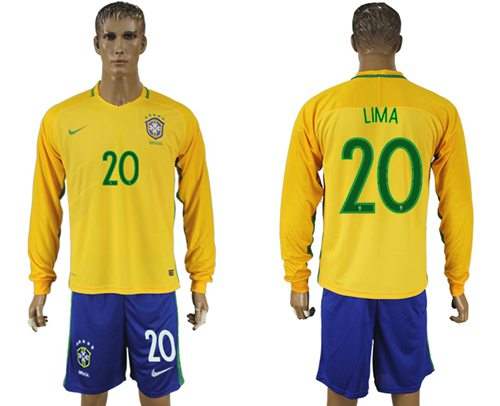 Brazil #20 Lima Home Long Sleeves Soccer Country Jersey