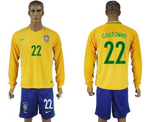 Brazil #22 Coutonho Home Long Sleeves Soccer Country Jersey