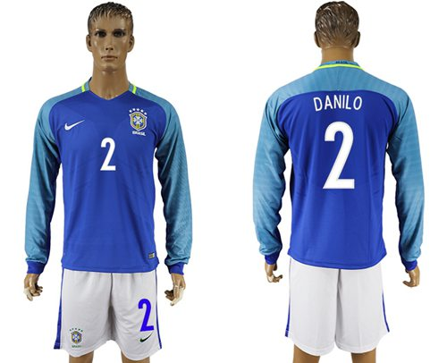 Brazil #2 Danilo Away Long Sleeves Soccer Country Jersey