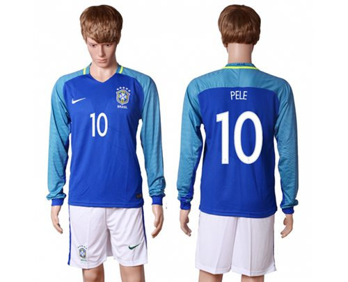 Brazil #10 Pele Away Long Sleeves Soccer Country Jersey