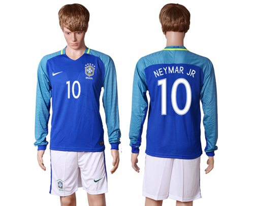Brazil #10 Neymar Jr Away Long Sleeves Soccer Country Jersey