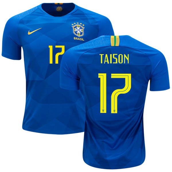 Brazil #17 Taison Away Soccer Country Jersey