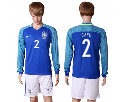 Brazil #2 Cafu Away Long Sleeves Soccer Country Jersey