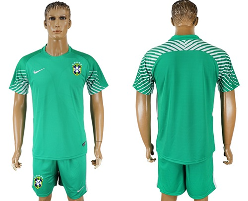 Brazil Blank Green Goalkeeper Soccer Country Jersey